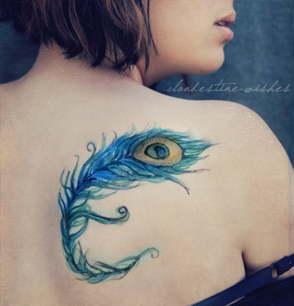 colorful feather tattoo on back