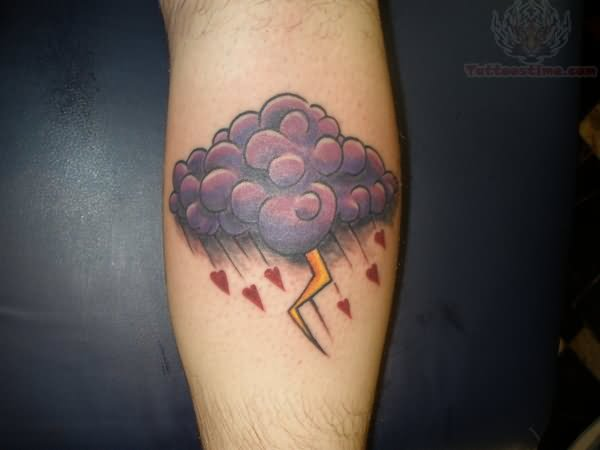 colorful rain cloud tattoo