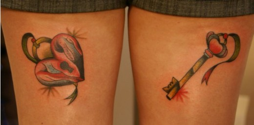 lock and key tattoo on legs