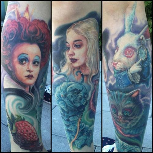 main characters Alice in Wonderland tattoo