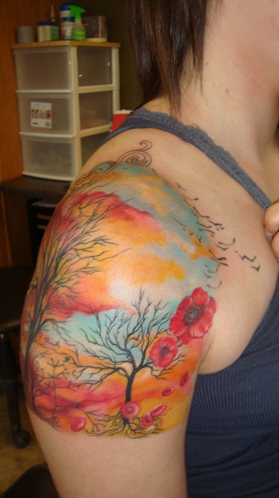 trees and clouds tattoo x