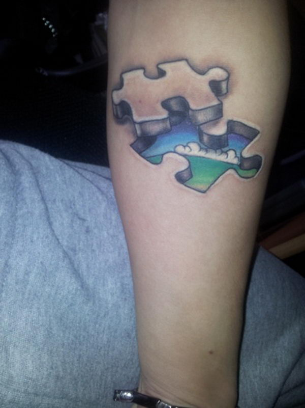 3D Puzzle Piece Tattoo on Foot