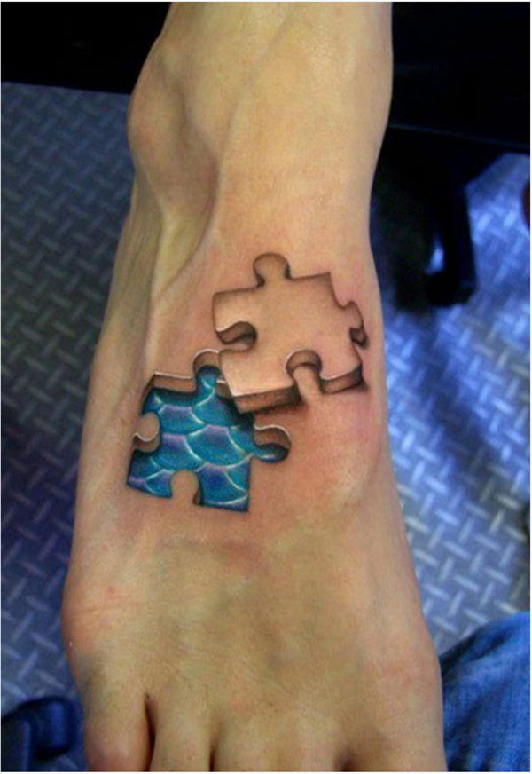 3D Puzzle Piece on Foot Tattoo