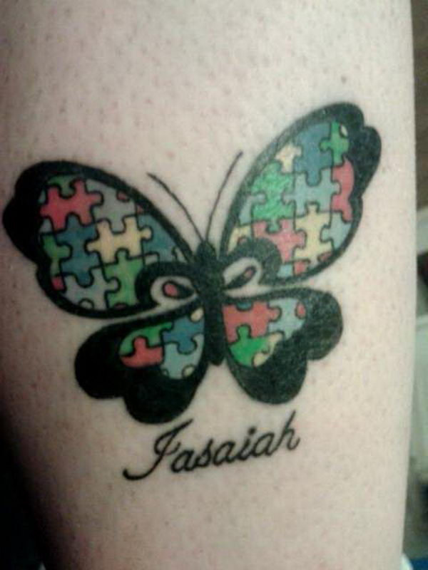 Autism Puzzle Piece Butterfly Tattoo