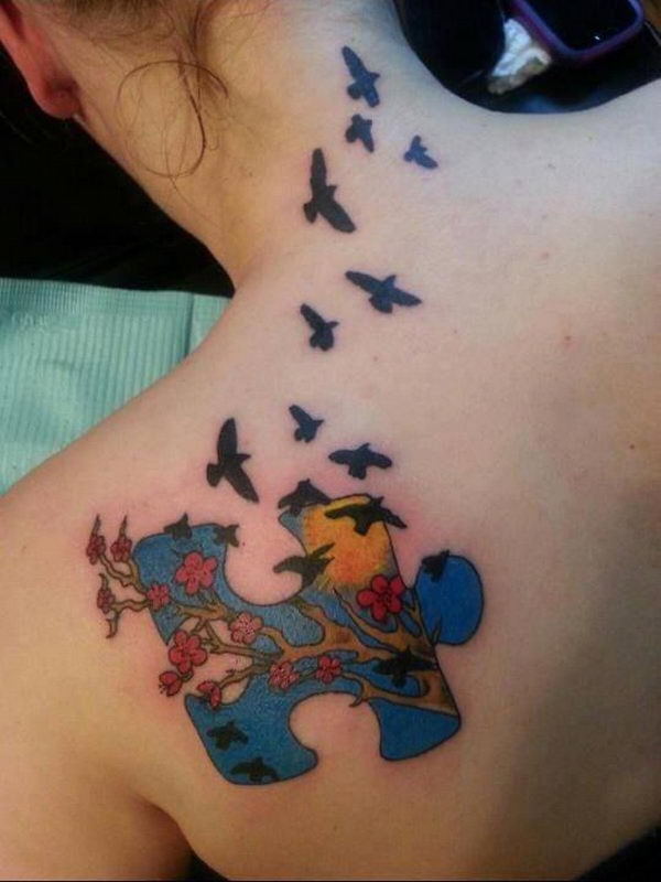 Autism Puzzle Piece and Birds on Shoulder Tattoo