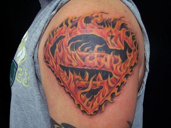 Burning Superman Tattoo