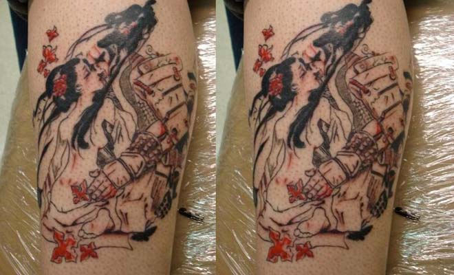 Geisha Kissing Tattoo