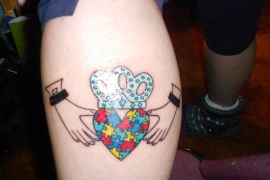 Heart Crown Puzzle Piece Tattoo