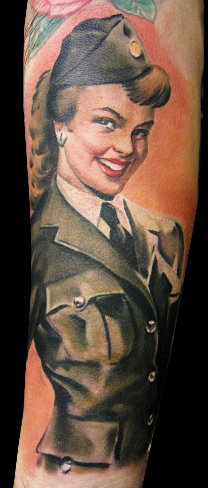 Military Pin Up Girl Tattoo