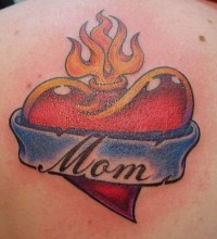 Mom Heart on Fire Tattoo