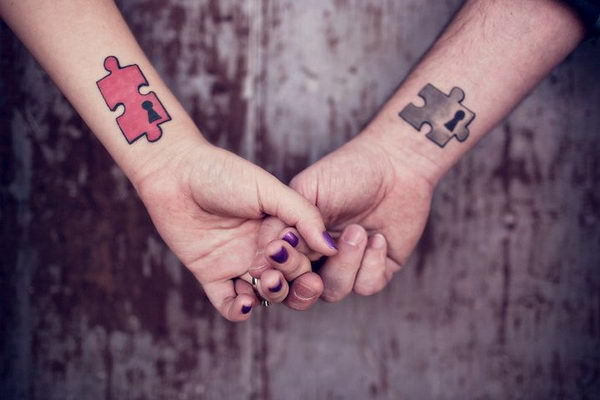 Puzzle Piece Matching Tattoos on Wrists