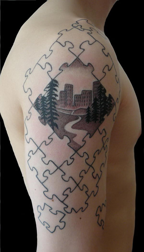 Puzzle Piece on Arm Tattoo