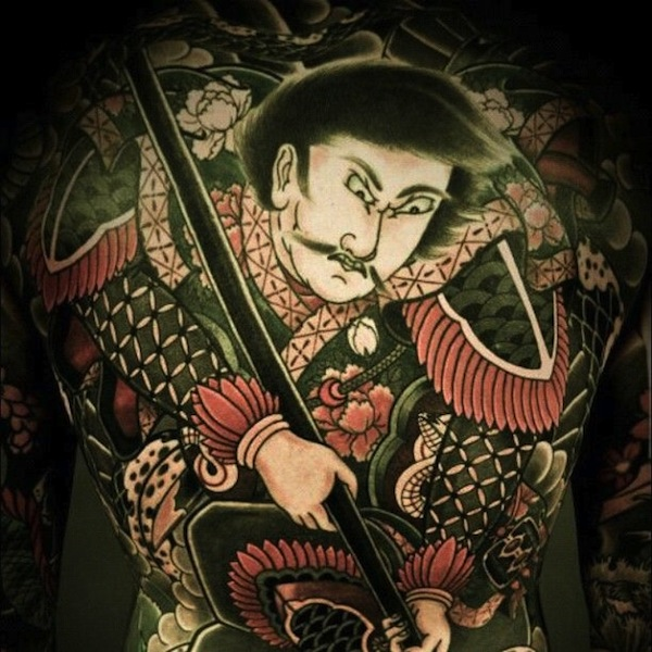Samurai tattoo with a sphere