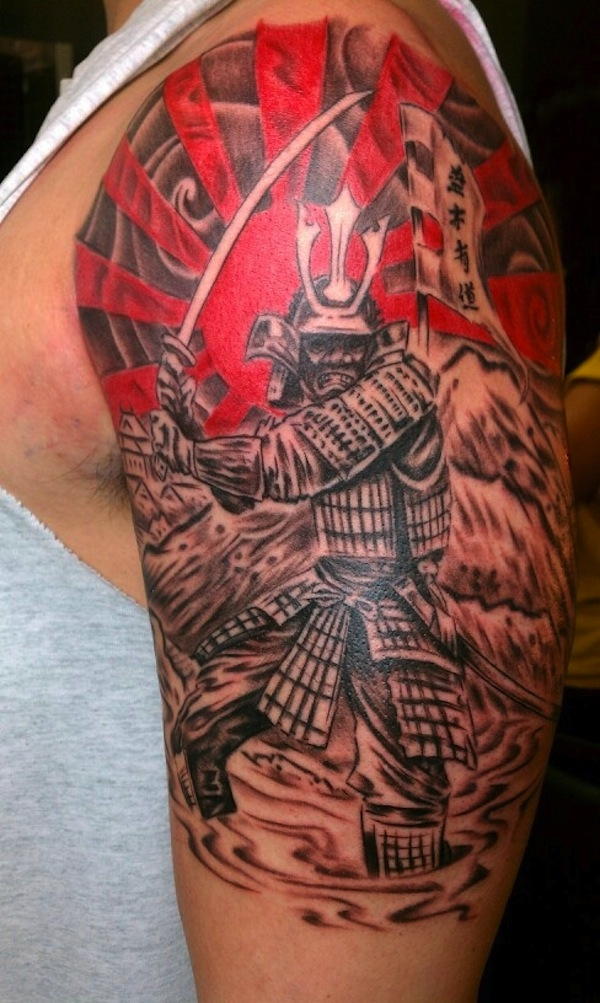 Samurai with a flag and red sun Tattoo
