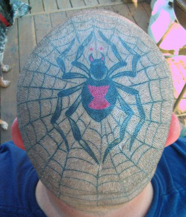 Spider Web Tattoo on Head