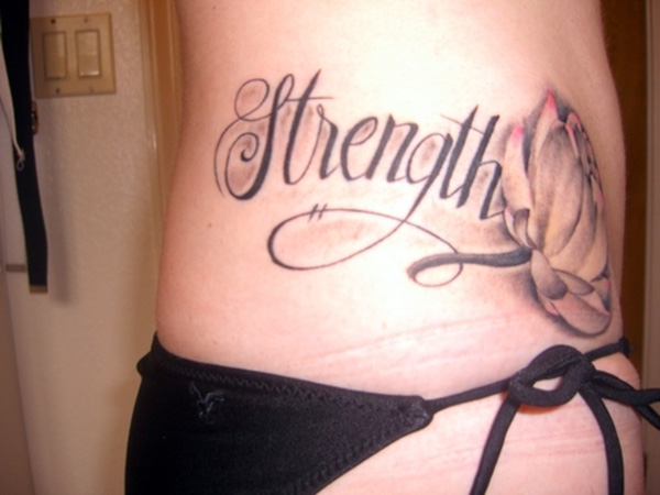 Strength and Flower tattoos