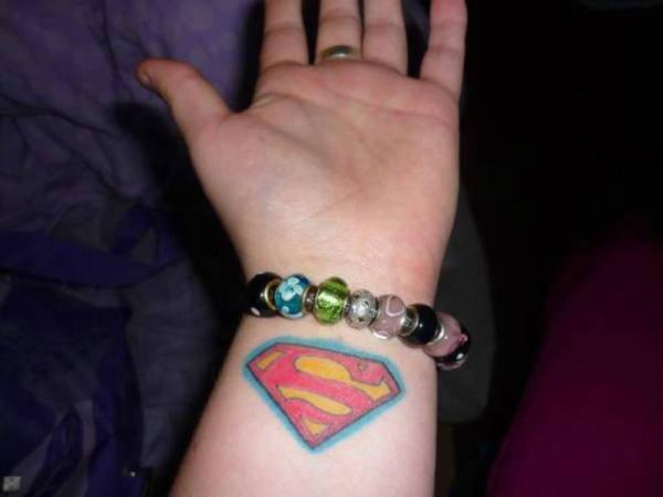 Superman Wrist Tattoo
