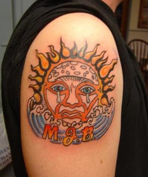 Weeping Sun Tattoo On Shoulder