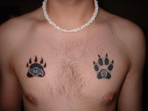 Bear Claw on Chest Tattoo