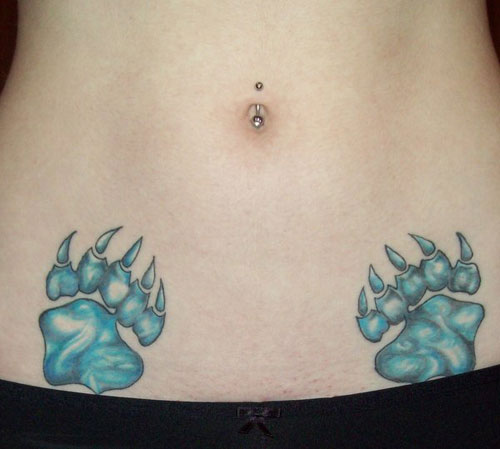 Bear Claw on Lower Belly Tattoo