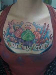 Cake & Candy Tattoo on Chest