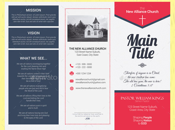 20 nice church brochure templates psd indesign for Church brochure templates free