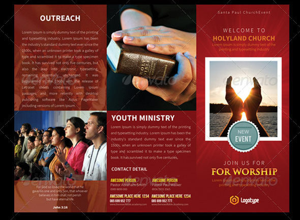 Church Holyland TriFold Brochures