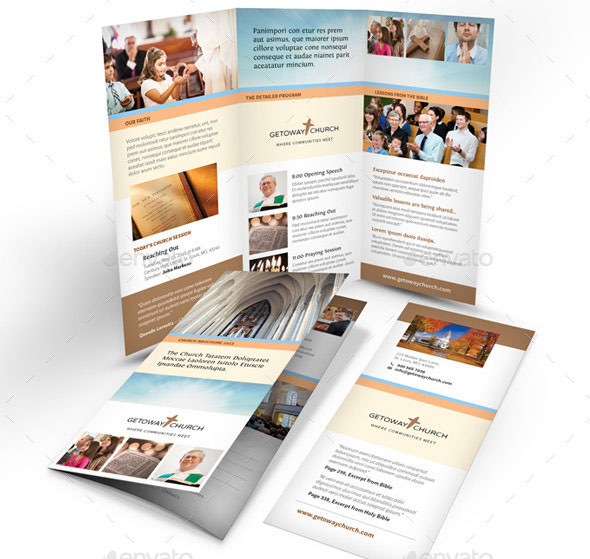 Nice Church Brochure Templates PSD InDesign Desiznworld - Church brochure templates