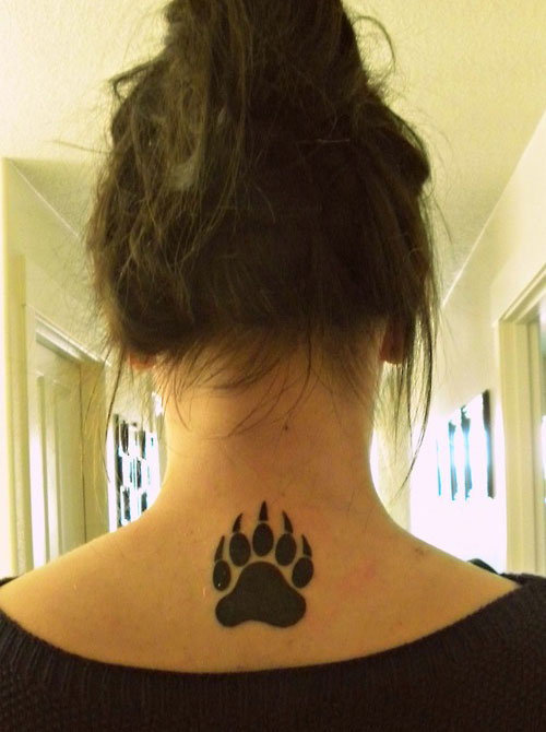 Claw Bear Tattoo on Girl Neck