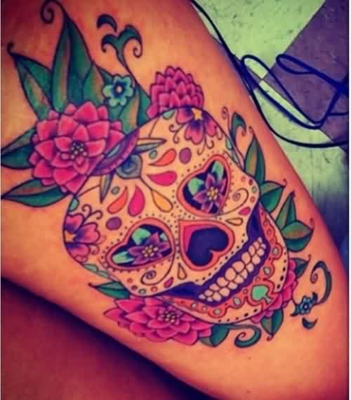 Flowers And Candy Skull Tattoos