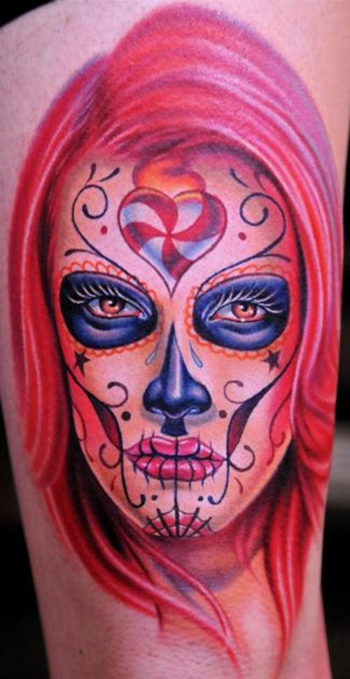 Lovely Mexican Candy Skull Tattoo