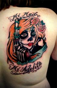 Mexican Candy Skull Tattoo On Back Shoulder