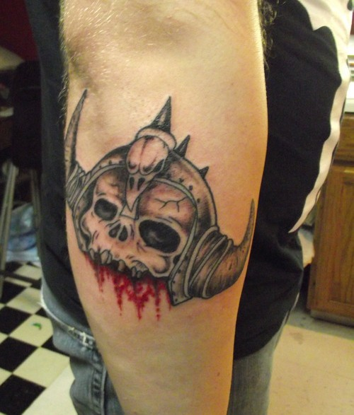 Alien Skull Face Tattoo On Elbow