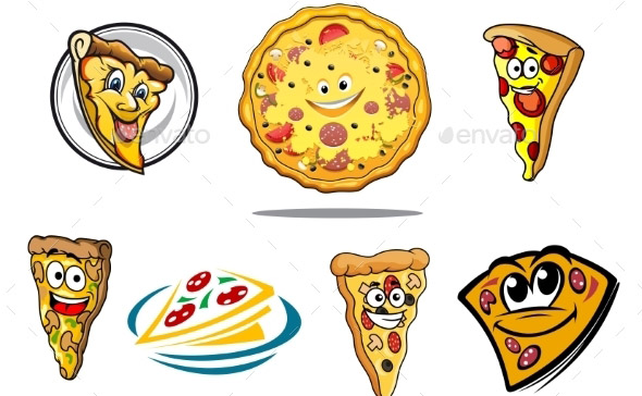 Colorful Cartoon Pizza Characters and Icons
