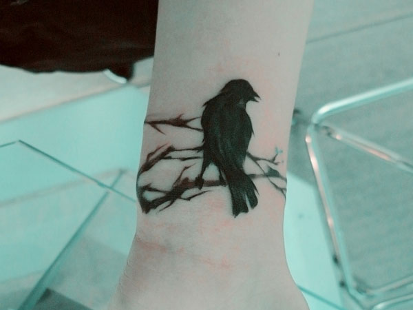 Crow Singing Tattoo