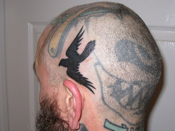 Crow Tattoo on Head