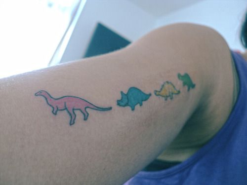 Cute Colorful Dinosaur Tattoo