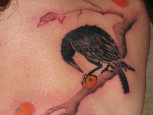 Cute Crow Tattoo Design