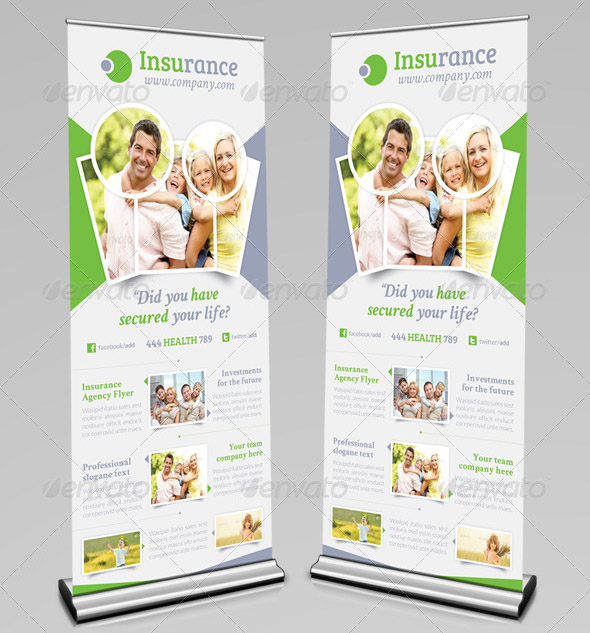 Insurance Agency Billboard Roll-Up Template