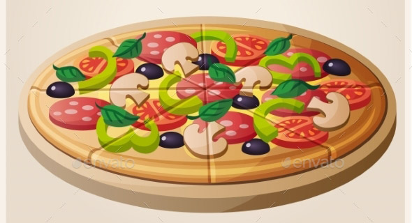 Pizza Detailed Vector Icon