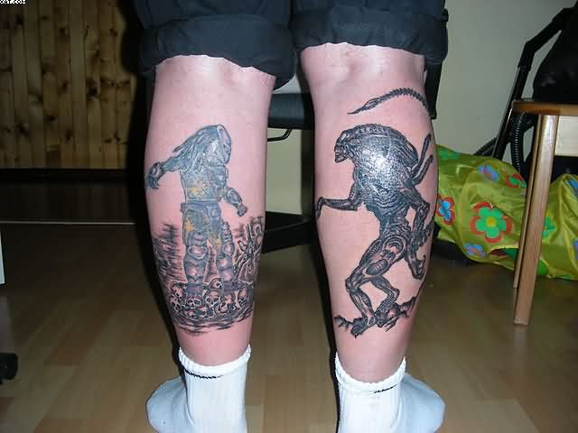 Predator And Alien Tattoos On Back Legs