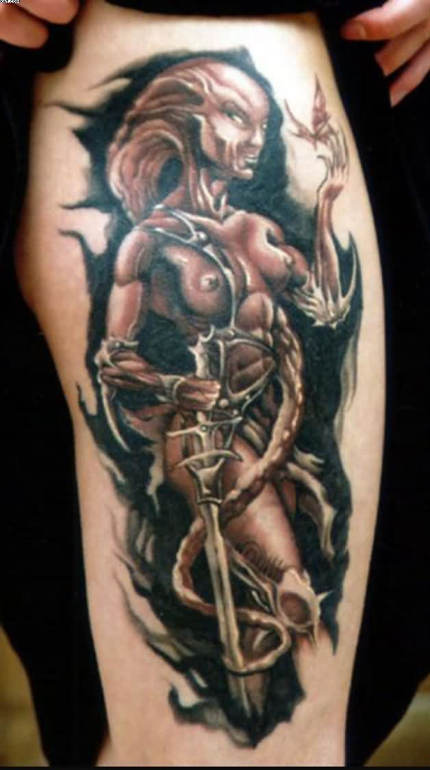 Sexy Alien Woman Tattoo