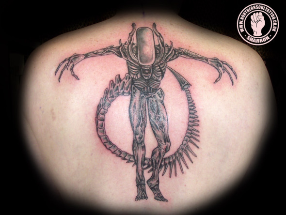 Standing Alien Tattoo on Back
