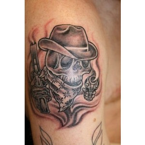 Superb Cowboy Skull Tattoo On Muscles