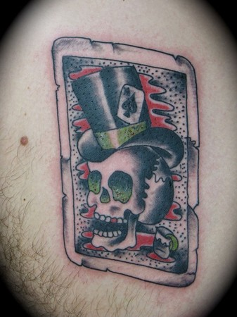 Traditional Skull With Cowboy Hat Tattoo