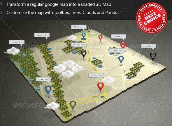 3D Google Map Mock-up