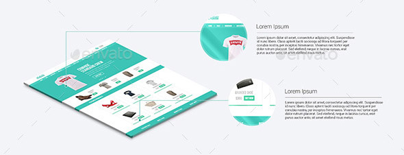 3D Web Page Display Mockup