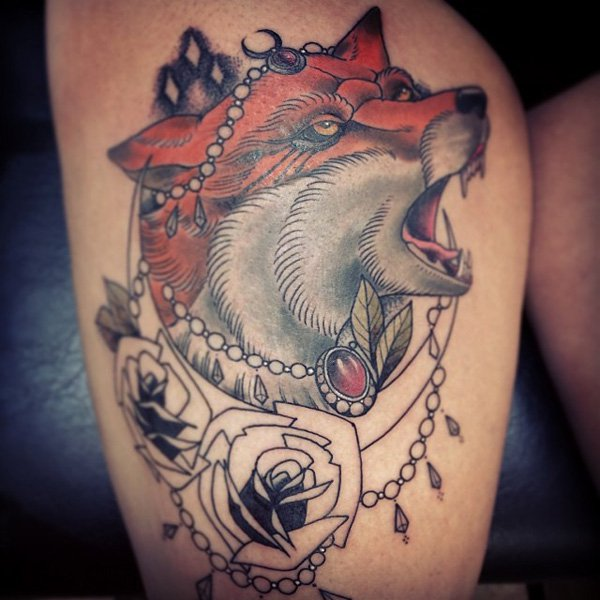 Thigh Fox Tattoo