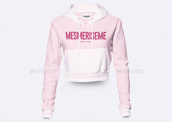 Womens Crop Hoodie Mock-up