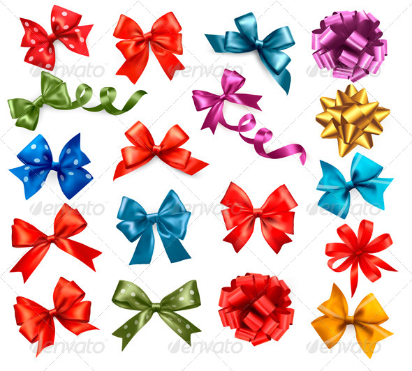 Big Collection of Color Gift Bows with Ribbons